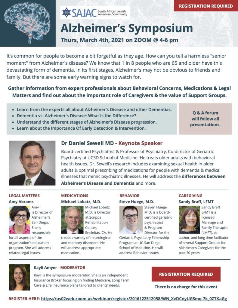 SAJAC Alzheimer's Symposium Flyer